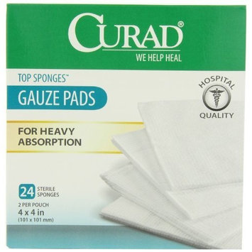 Curad Top Sponge, 4 Inches X 4 Inches, 2 Pad/Pouch, 24 Count (Pack of 3)