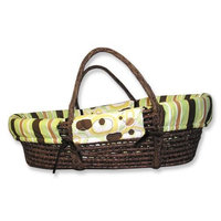 Trend Lab Giggles Moses Basket Set - Chocolate Basket with Giggles Print Wrap Style Bumper and Sage Mattress Cover Sheet