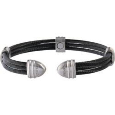 Sabona Classic Cable Black/Satin Stainless Magnetic