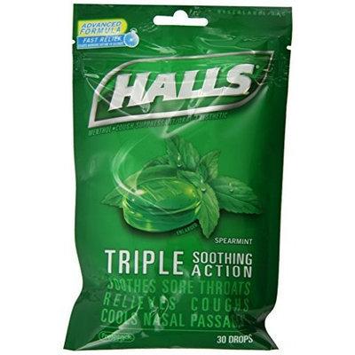 Halls Drops, Spearmint, 30-Count Drops (Pack of 12)