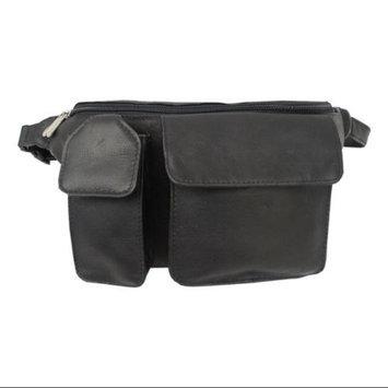 Piel Leather Leather Waist Bag w Hidden Zip-Pocket in Black