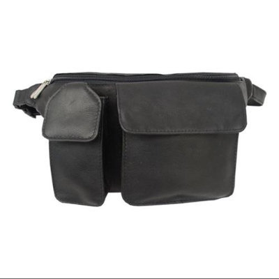 Piel Leather Leather Waist Bag w Hidden Zip-Pocket in Black