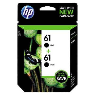 HP 61 Ink Cartridge Twin Pack - Black (CZ073FN#140)