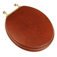 Comfort Seats C1B2R1-15BR Decorative Oak Wood Round Toilet Seat with Polished Brass Hinges, American Cherry