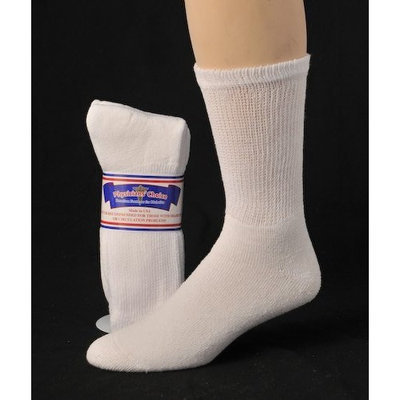 Greaterfeet Diabetic Socks, Ultra Light, 12pair, Crew/White Size 10-13