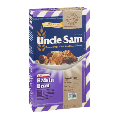 Uncle Sam Toasted Whole Wheat Berry Flakes & Raisins Raisin Bran
