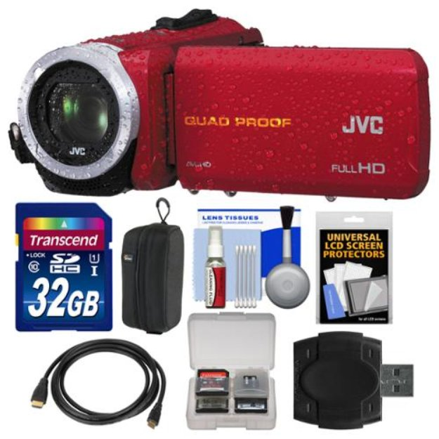 JVC Everio GZ-R10 Quad Proof Full HD Digital Video Camera Camcorder (Red) with 32GB Card + Case + HDMI Cable + Accessory Kit