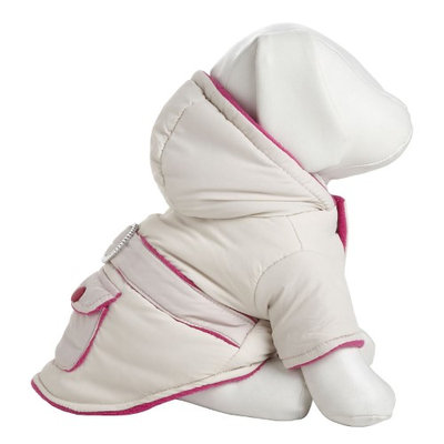 Pet Life Tan & Pink Parka with Removable Hood: Small - (Fits 10