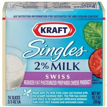 Kraft Singles 2% Milk Swiss Cheese Slices - 10.7 oz.