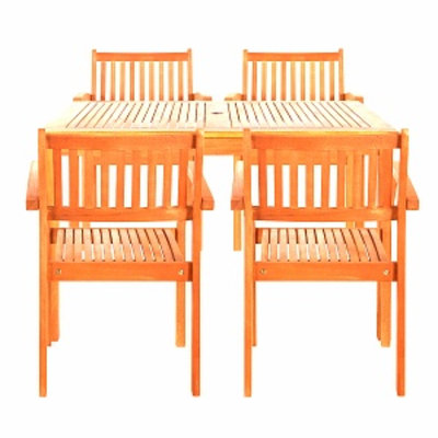 VIFAH Brainerd Four Seater Dining Set, Tan, 1 ea