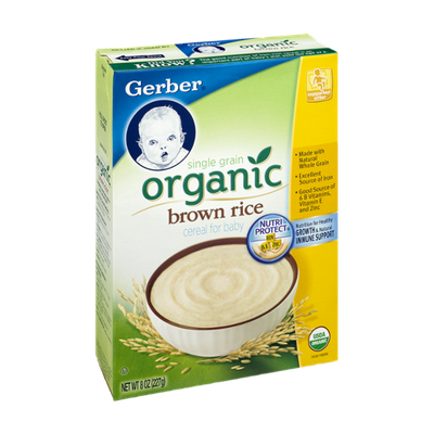 Gerber Single Grain Organic Brown Rice Cereal for Baby
