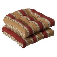 Pillow Perfect Outdoor 2-Piece Wicker Chair Cushion Set - Tan/Red Stripe