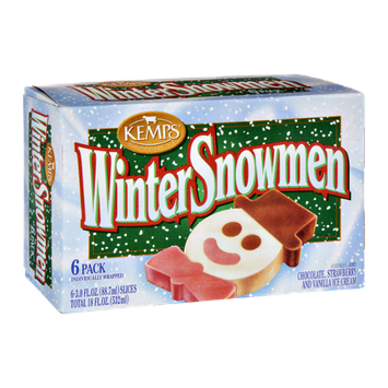 Kemps Winter Snowman Chocolate, Strawberry and Vanilla Ice Cream- 6 PK