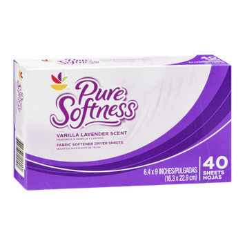 Ahold Pure Softness Fabric Softener Dryer Sheets Vanilla Lavender Scent