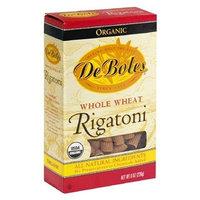 De Boles Pasta Organic Whole Wheat Rigatoni, 8-Ounce Boxes (Pack of 12)