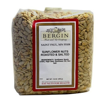 Bergin Nut Company Sunflower, Roasted Salted, 16-Ounce Bags (Pack of 6)