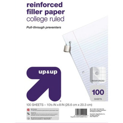up & up - 100ct College Ruled Reinforced Filler Paper - 8.5