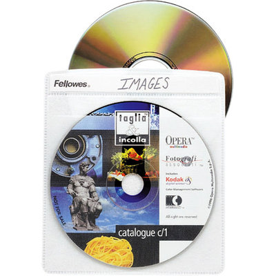Fellowes 90659 CD/DVD Double Side Sleeves 5inx5-3/4in 50/PK Clear