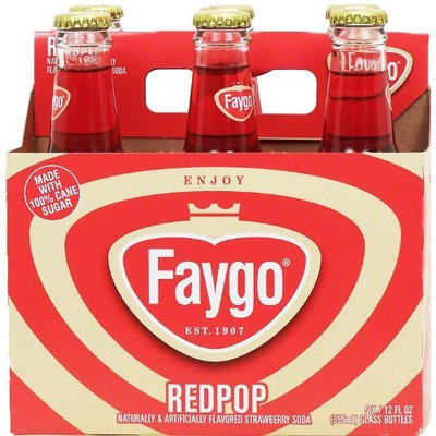 Faygo Redpop strawberry flavored soda, 12-fl. oz. glass bottles, 6-pack