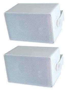Speco White Indoor/Outdoor Three-Way Speaker Pair - 30W RMS