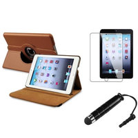 Insten iPad Mini 3/2/1 Case, by INSTEN Brown Rotating Leather Case Stand+Protector/Pen for Apple iPad Mini 3rd 3 2nd 1 1st Gen
