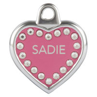 TagWorks Blingz Personalized Heart ID Tag with Crystals