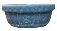 Ethical Stoneware Dish - Old World Antique Dog Dish- Slate Blue 7 Inch