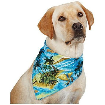 Aria Polyester/Cotton Blend Aloha Dog Bandana, 22-Inch, Blue