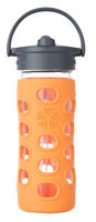 Glass Bottle with Straw Cap Orange Lifefactory 12 oz Bottle
