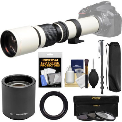 Vivitar 500mm f/8.0 Telephoto Lens (T Mount) (White) with 2x Teleconverter (=1000mm) + Monopod + 3 Filters Kit for Nikon D3200, D3300, D5300, D5500, D7100, D7200, D610, D750, D810 Camera with VIVITAR USA Warranty