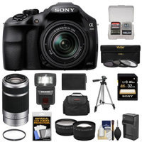 Sony Alpha A3000 Digital Camera & 18-55mm Lens with 55-210mm Lens + 32GB Card + Battery + Case + Flash + 3 Filters + Tripod + Tele/Wide Lenses Kit