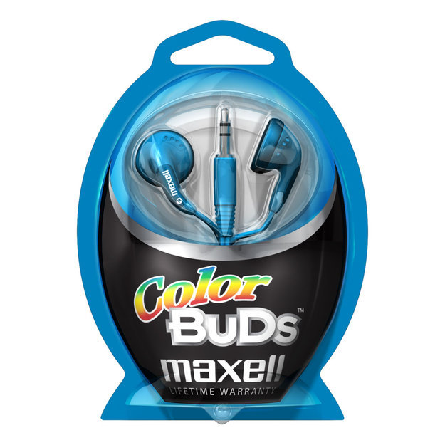Maxell Color Buds Stereo Earphone - Wired Connectivity - Stereo - Earbud - Blue