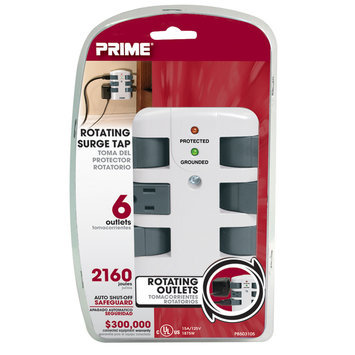 Prime Wire 6-Outlet 2160J Swivel Surge Tap, White