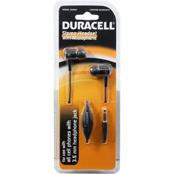 Esi Cases & Accessories Duracell Headset w/ Mic DU3001 Black - ESI CASES AND ACCESSORIES
