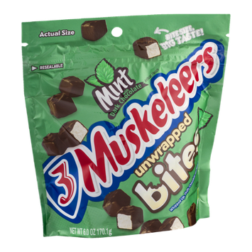 3 Musketeers Unwrapped Bites Mint With Dark Chocolate