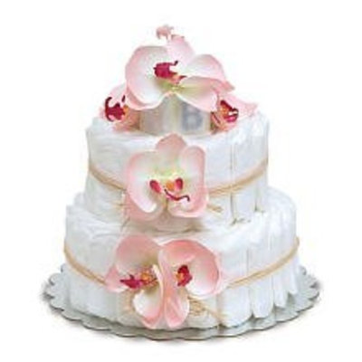 Bloomers Small Pink Orchids Diaper Cakes