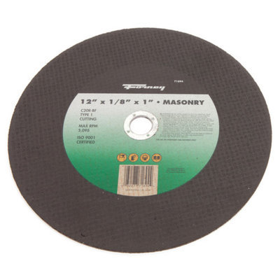 Forney 71894 Chop Saw Blade with 1-Inch Arbor Masonry Type 1 C20R-BF 12-Inch-by-1/8-Inch