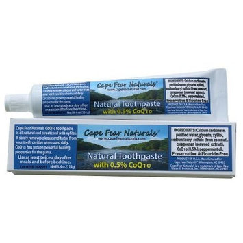 Cape Fear Naturals - Natural Toothpaste - CoQ10 (Peppermint Flavored) - 4oz Tube - Preservative Free & Flouride Free