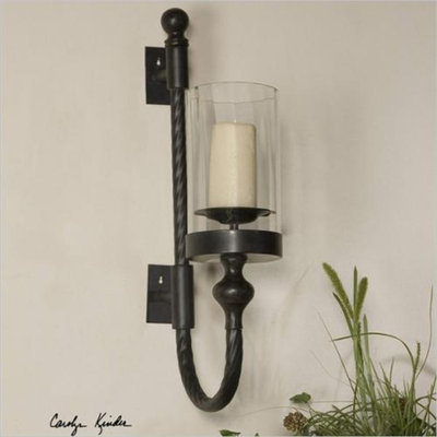 Uttermost Garvin Twist Metal Sconce with Candle in Aged Black