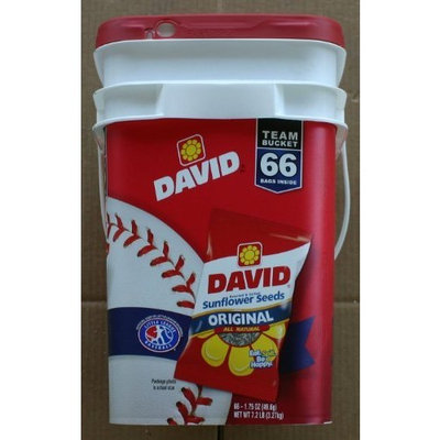 David Sunflower Seeds David Original Roasted and All Natural Salted Sunflower Seeds Team Bucket 1.75 Ounce Bags (Pack of 66)