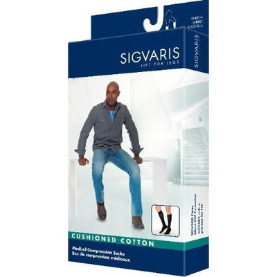 Sigvaris Men's Cushioned Cotton Knee High Sport Socks 20-30mmHg Long Length, Medium Long, White