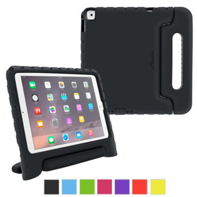 iPad Air 2 Case - roocase KidArmor Kid Proof EVA Series iPad Air 2 2014 Shock Resistant Convertible Handle with Kickstand Kids Friendly Cover Case for Apple iPad Air 2 (2014), Black