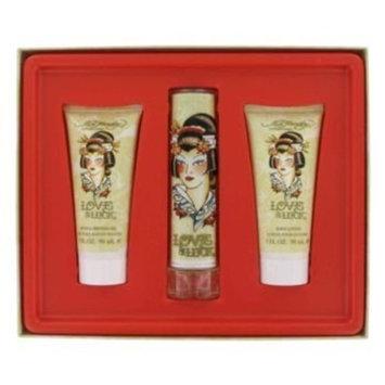 Love & Luck by Christian Audigier Gift Set -- 1.7 oz Eau De Parfum Spray + 3 oz Body Lotion + 3 oz Bath & Shower Gel for Women
