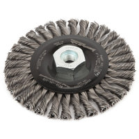 Forney 72845 Wire Wheel Brush Industrial Pro Stringer Bead Twist Knot with M10-by-1.25/1.50 Multi Ar