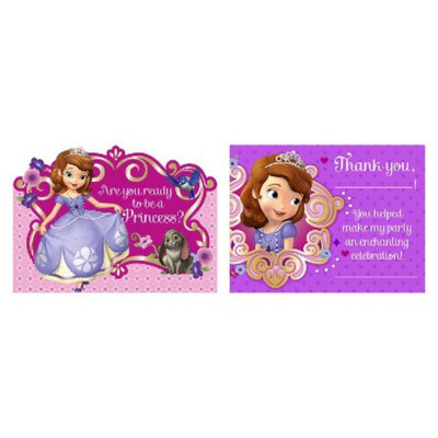 Hallmark 230446 Disney Junior Sofia the First Invitations & Thank-You Postcards
