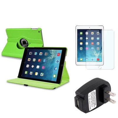 Insten INSTEN Green 360 Leather Stand Case Cover+Guard+AC Charger For Apple iPad Air 5 5th Gen