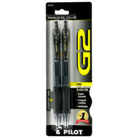 Pilot G2 Gel Roller Pen, Black (2 pack)