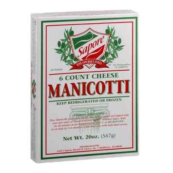 Sapore Fine Gourmet Pasta Manicotti Cheese - 6 CT