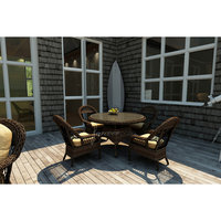 A & D Creations Leona 5pc Large Round Patio Dining Set featuring Sunbrella® Fabric in Canvas Wheat