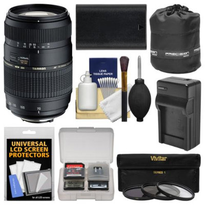 Tamron 70-300mm f/4-5.6 Di LD Macro 1:2 Zoom Lens with LP-E6 Battery & Charger + 3 Filters + Pouch + Kit for Canon EOS 6D, 7D, 70D, 5D Mark II III DSLR Cameras